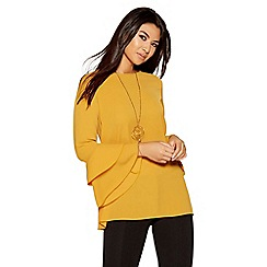 Quiz - Mustard bubble double frill necklace top