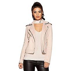 Quiz - Pale pink faux suede biker jacket