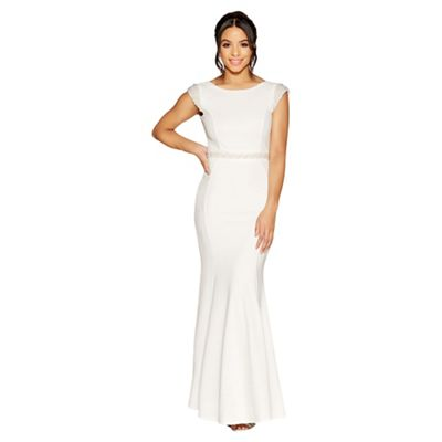 Quiz   Lucia White Pearl Embellished Bridal Dress by Quiz