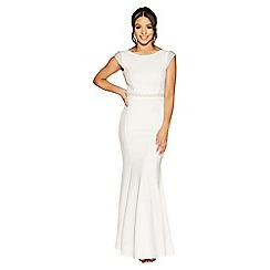 Quiz - Lucia white pearl embellished bridal dress