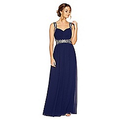 Quiz - Navy and silver chiffon embellished maxi dress