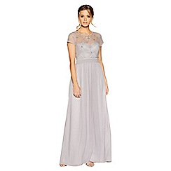 Quiz - Grey chiffon cap sleeve embellished maxi dress