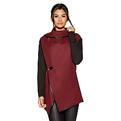Quiz - Berry felt contrast sleeves jacket