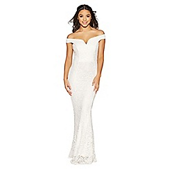 Quiz - Vivienne white sequin lace bardot bridal dress