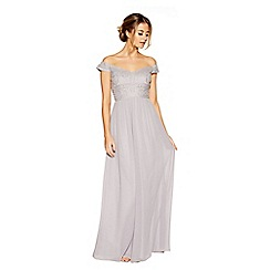 Quiz - Grey chiffon embroidered bardot maxi dresses