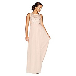 Quiz - Nude chiffon pearl high neck maxi dress