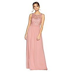 Quiz - Rose pink pearl chiffon high neck dress