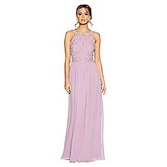 Quiz - Lilac chiffon embellished high neck keyhole dress
