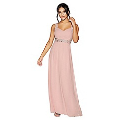Quiz - Dusty pink chiffon v neck embellished maxi dress