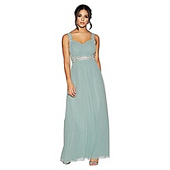 Quiz - Sage green  chiffon v neck embellished maxi dress