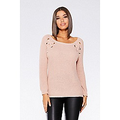 Quiz - Nude pink knit eyelet jumper