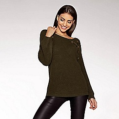 Quiz - Khaki knit eyelet jumper