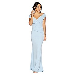 Quiz - Powder blue crepe bardot wrap front fishtail maxi dress