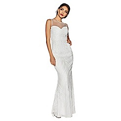 Quiz - Ava white sequin embellished fishtail bridal dress