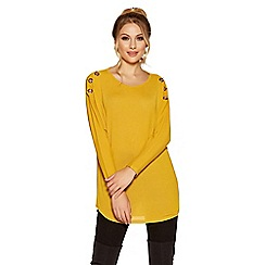 Quiz - Mustard eyelet light knit top