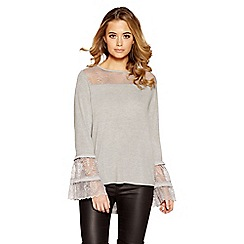 Quiz - Grey light knit lace frill top