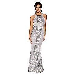 Quiz - Grey and silver sequin maxi dress