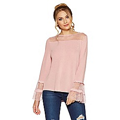 Quiz - Pink light knit lace frill top