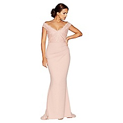 Quiz - Nude crepe bardot sequin lace fishtail maxi dress