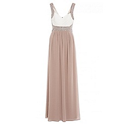 Quiz - Cream and mocha chiffon maxi dress