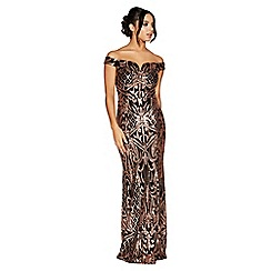 Quiz - Black and rose gold sequin bardot maxi dress