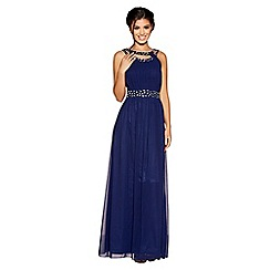 Quiz - Navy chiffon round neck embellished maxi dress