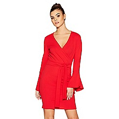 Quiz - Red crepe wrap front frill sleeve dress