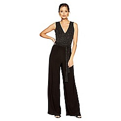 Quiz - Black and silver v neck palazzo jumpsuit
