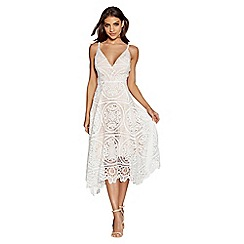 Quiz - Cream and nude crochet v-neck dress