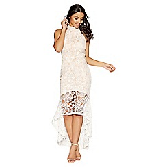 Quiz - Cream and nude crochet high neck dress