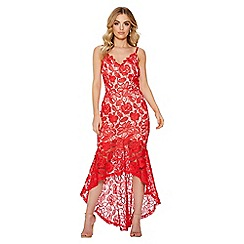 Quiz - Red and nude crochet v-neck strap dress