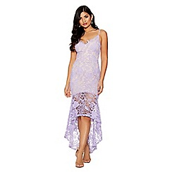 Quiz - Purple and nude crochet v-neck strap dress