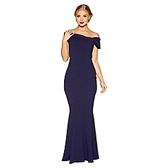 Quiz - Navy crepe bardot side bow maxi dress