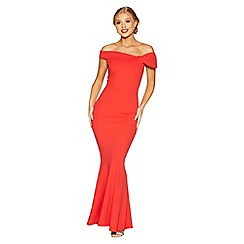 Quiz - Red crepe bardot side bow maxi dress