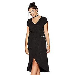 Quiz - Curve black glitter wrap front dress