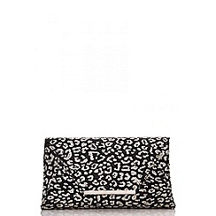 Quiz - Gabby´s black and gold leopard print sequin bag