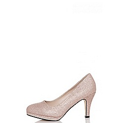 Quiz - Rose gold glitter midi heels
