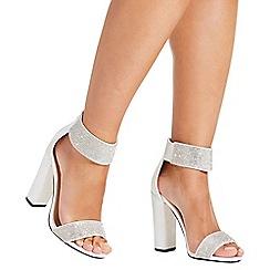 Quiz - White satin diamante ankle strap sandals