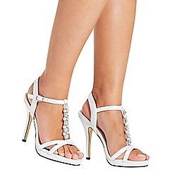 Quiz - White satin pearl heel sandals