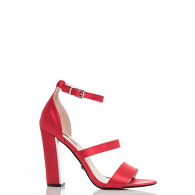 Quiz - Red satin strappy block heel sandals