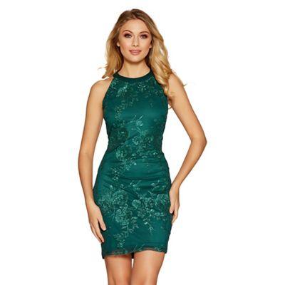 Quiz Emerald Green Sequin Flowers High Neck Short Dress
