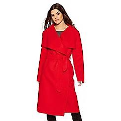 Quiz - Red tie belt long sleeves coat