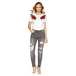 Quiz - Grey stretch ripped skinny jeans