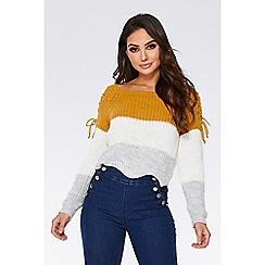 Quiz - Mustard cream and grey cropped jumper