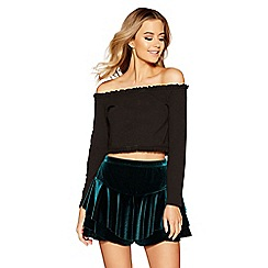Quiz - Bottle green velvet frill shorts
