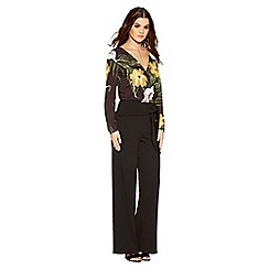 Quiz - Black crepe high waisted wide leg trousers