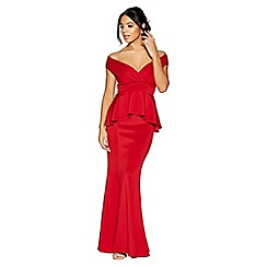 Quiz - Red wrap front peplum fishtail maxi dress