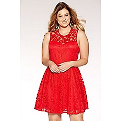 Quiz - Curve red lace sweetheart neck skater dress
