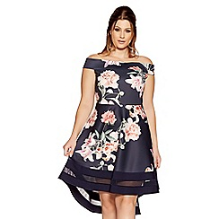Quiz - Curve navy and pink floral dip hem dress