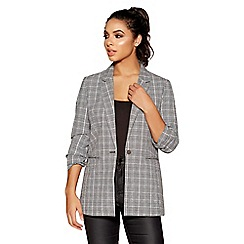 Quiz - Black and white woven check ruched suit jacket